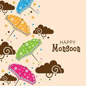 Beautiful concept for Happy Monsoon Season with colorful umbrellas and brown creative clouds with space for your message.