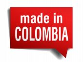 Made In Colombia Red 3D Realistic Speech Bubble Isolated On White Background