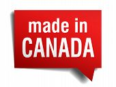 Made In Canada Red 3D Realistic Speech Bubble Isolated On White Background