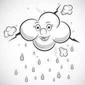 Happy cloud with raindrops on grey background, Kiddish illustration for monsoon season.