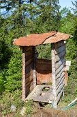 stock photo of outhouse  - Wooden outhouse at mountains in Northern Turkey - JPG