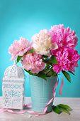 Beautiful Peony Bouquet In Vase