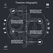 Timeline Infographics Symbols Elements and Icons Vintage Retro Style Design Template on Stylish Abst