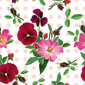 Seamless Pattern, Bouquet Of Pink Roses And Purple Pansy