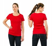 Serious Woman Wearing Blank Red Shirt