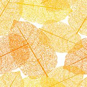 Leaf skeletons orange seamless vector background