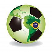 World soccer ball with Brazilian flag vector