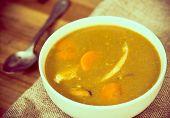 a bowl of Mediterranean french fish soup Bouillabaisse