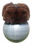 Fur Winter Hat On A Plastic Ball Black Isolated On White Background.