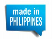 Made In Philippines Blue 3D Realistic Speech Bubble Isolated On White Background