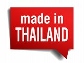 Made In Thailand Red  3D Realistic Speech Bubble Isolated On White Background