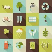 stock photo of environmental pollution  - set of flat ecology icons with shadows - JPG
