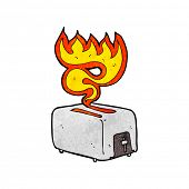 cartoon burning toaster