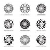 Design elements set. Patterns in circle shape. Abstract icons. Vector art.