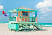 Colorful lifeguard tower in Miami Beach on a beautiful summer day