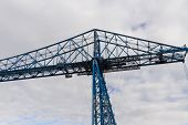 Large Blue Girders, Tees Transporter Bridge, Middlesbrough, England, United Kingdom, Europe