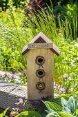 A wooden birdhouse with a welcome sign for new nesters.