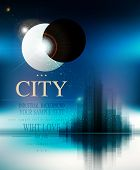 vector futuristic background with city and eclipse
