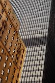 Architectural detail of building structures from downtown Toronto city.