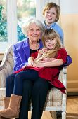 stock photo of babysitting  - Grandmother with Two Children Having Fun indoors - JPG