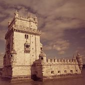 The Belem Tower in Lisbon with retro effect.