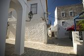 Old traditional street of Hydra island in Greece