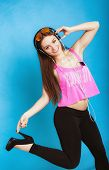 Fashion Teen Girl Listen Music Mp3 Relax Happy And Dancing