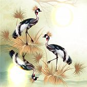Beautiful Outdoor Background With Birds In Chinese Style