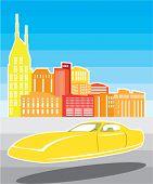 Yellow flying car