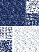 Blue Seamless Floral Vector Patterns. Use as fills or print off onto fabric to create unique items.