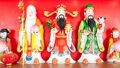 stock photo of threesome  - Three gods of the Chinese Fu Lu Shou - JPG