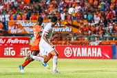Sisaket Thailand-june 8: Jay Bothroyd Of Muangthong Utd. (white) In Action During Thai Premier Leagu