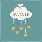 Bag in shape of cloud and hanging coins with dollar sign. Succes