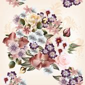 Floral  Seamless Pattern In Watercolor Style With Flowers