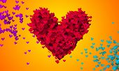 Red Love Particles Heart Shape 3D orange background
