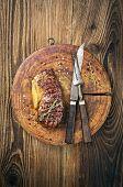 steak on the old board