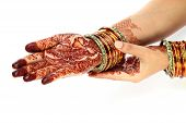 Hands with henna tattoo