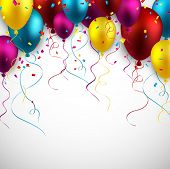 stock photo of confetti  - Celebration colorful background with balloons and confetti - JPG