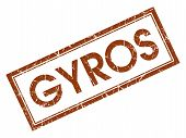 Gyros Brown Square Grungy Stamp Isolated On White Background