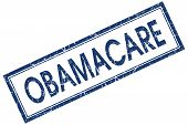 Obamacare Blue Square Grungy Stamp Isolated On White Background
