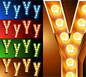 Ultimate realistic lamp board alphabet. Condensed style. Left and right options. Multicolored. Letter y
