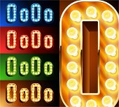 Ultimate realistic lamp board alphabet. Condensed style. Left and right options. Multicolored. Letter o