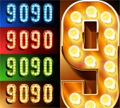 Ultimate realistic lamp board alphabet. Condensed style. Left and right options. Multicolored. Numbers 9 -0