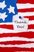 Thank You Note On American Paper Flag