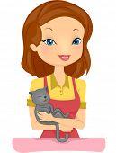 Illustration of a Female Pet Shop Employee Cuddling a Happy Cat