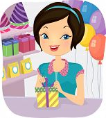 Illustration of a Female Shop Attendant at a Store That Sells Party Supplies