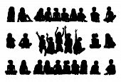 Big Set Of Schoolchildren Seated Silhouettes