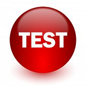 test red computer icon on white background