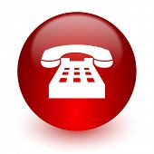 phone red computer icon on white background