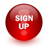 sign up red computer icon on white background